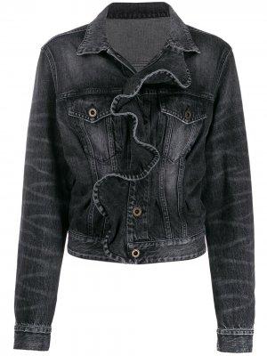 Джинсовая куртка с оборками UNRAVEL PROJECT. Цвет: черный