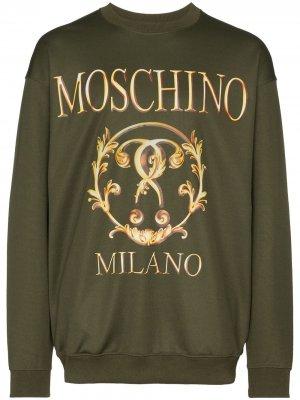 Толстовка с логотипом Moschino. Цвет: зеленый