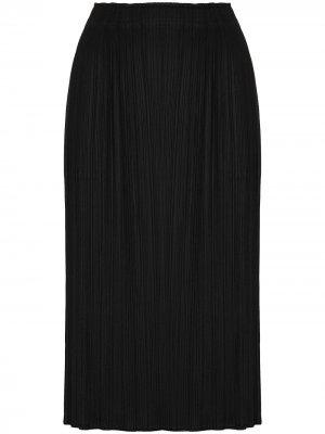 Плиссированная юбка миди с разрезом Pleats Please Issey Miyake. Цвет: черный