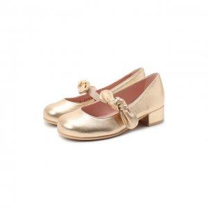 Кожаные туфли Pretty Ballerinas. Цвет: золотой