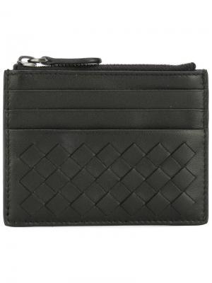 Бумажник с плетеным дизайном Bottega Veneta. Цвет: черный