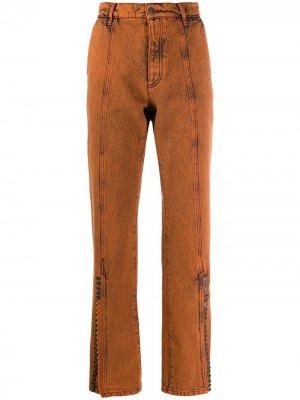 Прямые джинсы из вареного денима Y/Project. Цвет: оранжевый
