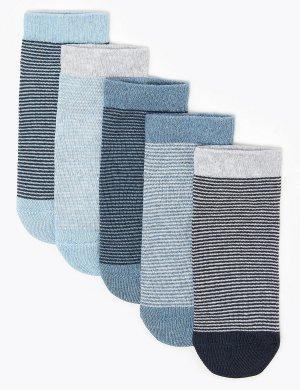 5 пар носков из хлопка с различным дизайном Marks & Spencer. Цвет: деним микс
