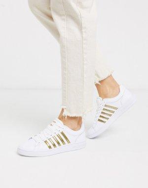 Бело-золотистые кроссовки Court Winston-Белый K-Swiss