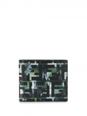 Бумажник с камуфляжным принтом Fendi. Цвет: черный