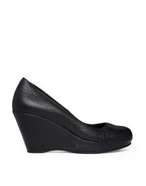 Кожаные туфли на каблуке и танкетке Gardenia. Цвет: bufalo black