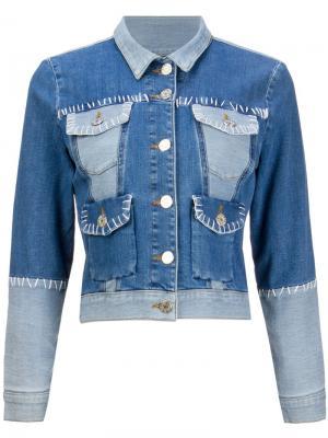 Джинсовая куртка в стиле пэчворк House Of Holland. Цвет: синий