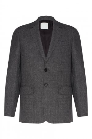 Шерстяной пиджак серого цвета Sandro. Цвет: серый