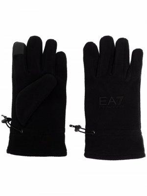 Перчатки с логотипом Ea7 Emporio Armani. Цвет: черный
