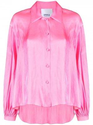 Атласная рубашка с длинными рукавами Erika Cavallini. Цвет: розовый