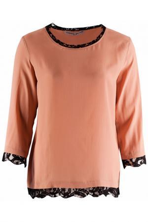 Свободная блуза с кружевом по низу Frankie Morello. Цвет: бежевый