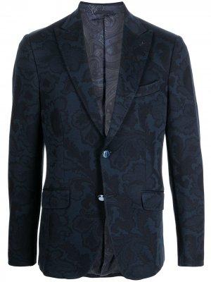 Однобортный пиджак с принтом Baroque ETRO. Цвет: синий