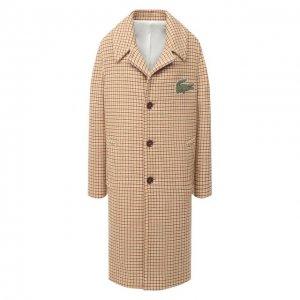 Шерстяное пальто Lacoste. Цвет: бежевый