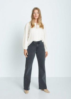 Блузка с плиссированной вставкой - Macro7 Mango. Цвет: грязно-белый