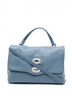 Большая сумка-тоут с заклепками Zanellato. Цвет: синий