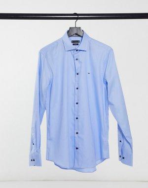 Приталенная рубашка с длинными рукавами из хлопкового твила -Голубой Tommy Hilfiger