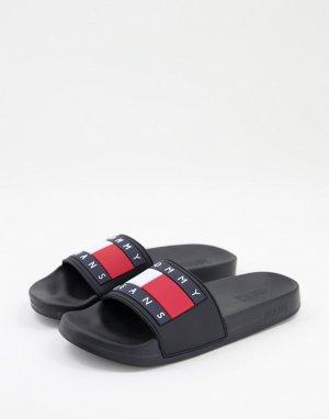 Черные шлепанцы с логотипом -Черный цвет Tommy Jeans