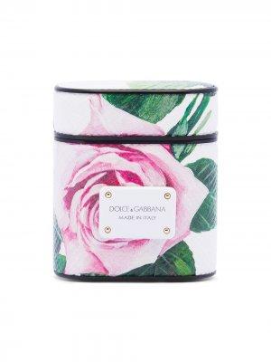Футляр для Airpods с цветочным узором Dolce & Gabbana. Цвет: белый