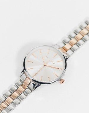 Двухцветные часы с металлическим браслетом в серебристом и золотистом цветах -Серебряный Bellfield