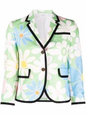 Floral-print blazer Thom Browne. Цвет: зеленый