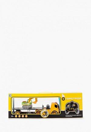 Игрушка радиоуправляемая 1Toy Горстрой тягач с экскаватором р/у. Цвет: разноцветный