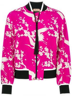 Куртка-бомбер с цветами и птицами Nº21. Цвет: розовый