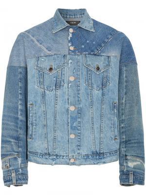 Джинсовая куртка с панельным дизайном Amiri. Цвет: синий