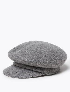 Женская кепка пекаря из натуральной шерсти M&S Collection. Цвет: серый