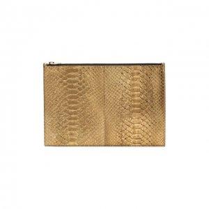 Футляр для документов из кожи питона Tom Ford. Цвет: золотой