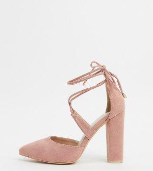 Розовые туфли на блочном каблуке с перекрестными ремешками -Розовый цвет Glamorous Wide Fit