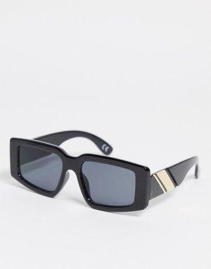 Черные квадратные солнцезащитные очки среднего размера с оправой из переработанных материалов в стиле oversized ASOS DESIGN-Черный цвет