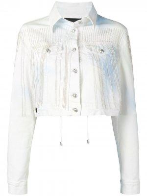 Джинсовая куртка с бахромой Philipp Plein. Цвет: белый