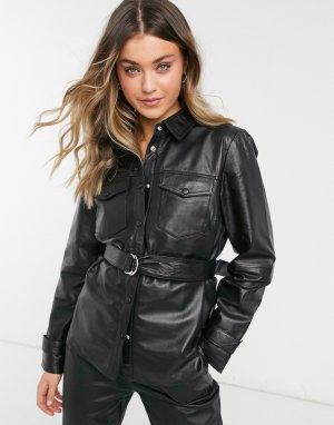 Черный кожаный шакет -Черный цвет Object