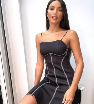 Черное короткое приталенное платье мини на бретелях ASOS DESIGN Tall-Черный Tall
