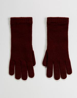 Перчатки ягодного цвета из 100% кашемира of Elgin Johnstons. Цвет: красный