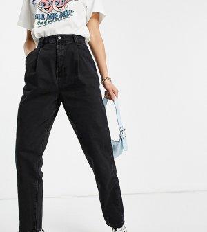 Черные выбеленные брюки-галифе со складками спереди из денима с добавлением органического хлопка ASOS DESIGN Tall-Черный цвет Tall