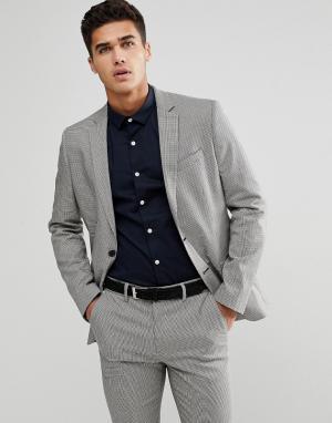 Серый пиджак в ломаную клетку -Черный New Look