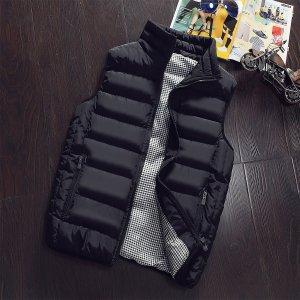 Мужской Жилет-куртка в клетку с подкладкой на молнии SHEIN. Цвет: чёрный
