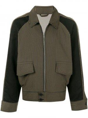 Куртка-бомбер в полоску Cerruti 1881. Цвет: коричневый