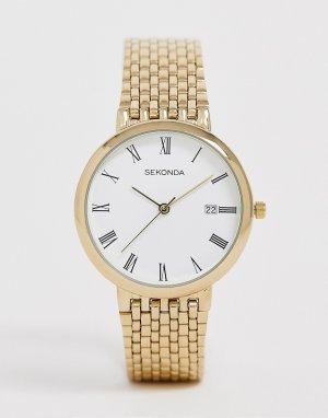Золотистые часы с индикацией даты -Золотой Sekonda