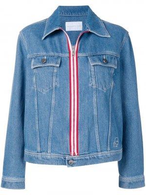 Джинсовая куртка в полоску Karl Lagerfeld. Цвет: синий