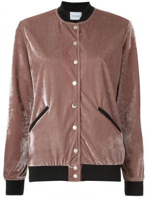 Бархатная куртка-бомбер Olympiah. Цвет: розовый и фиолетовый