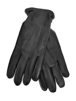 Однотонные перчатки из кожи оленя и кашемира MORESCHI. Цвет: черный