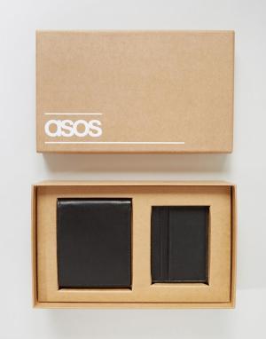Подарочный набор с кожаным кошельком и визитницей ASOS. Цвет: черный