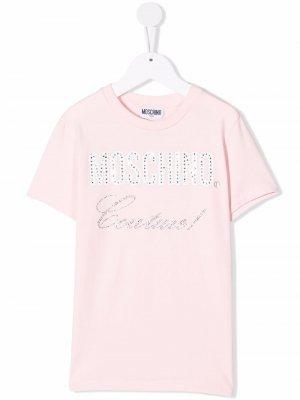 Rhinestone logo-print T-shirt Moschino Kids. Цвет: розовый