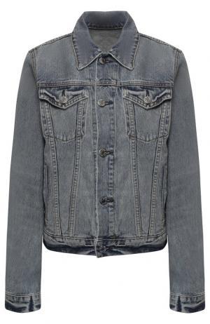 Джинсовая куртка с потертостями Helmut Lang. Цвет: голубой