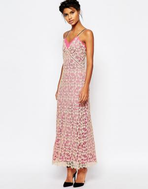 Длинное платье-майка из кружева с розовой подкладкой Self Portrait. Цвет: розовый