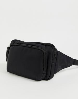 Черная сумка-кошелек на пояс с молнией New Look. Цвет: черный