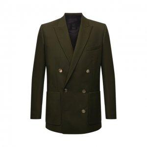 Шерстяной пиджак Balmain. Цвет: хаки