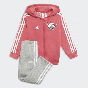 Флисовый спортивный костюм Lil 3-Stripes Performance adidas. Цвет: белый
